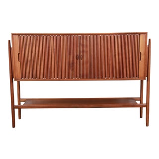 Barney Flagg for Drexel Parallel Mid-Century Modern Walnut Tambour Door Sideboard Credenza For Sale