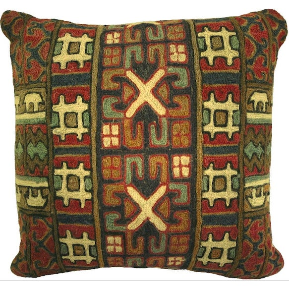 Crewel Wool Rug Fragment Pillow - Image 1 of 3