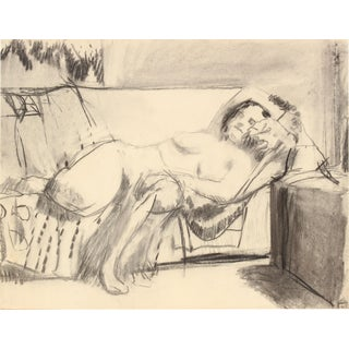 20th Century Drawing of a Reclining Female Nude For Sale