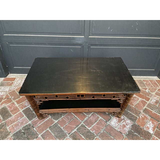 Chinese Two Tier Vintage Bamboo Coffee Table Black Lacquer Top For Sale - Image 3 of 6