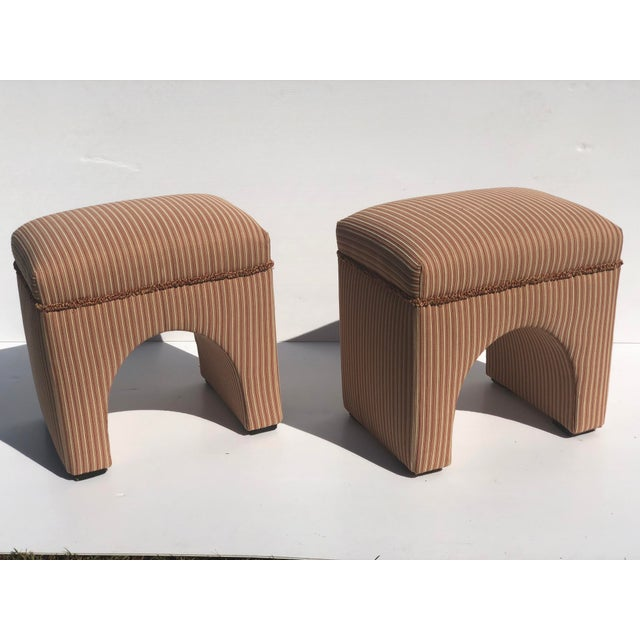 Mid-Century Modern 1970s Vintage Waterfall Ottomans- A Pair For Sale - Image 3 of 9