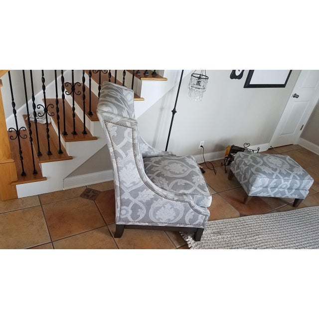 Lexington Barclay Butera Wing Back Chair & Ottoman For Sale In Tampa - Image 6 of 10