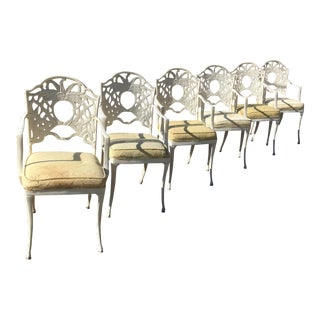 Vintage 1970's Aluminum Palm Frond Chairs - Set of 6