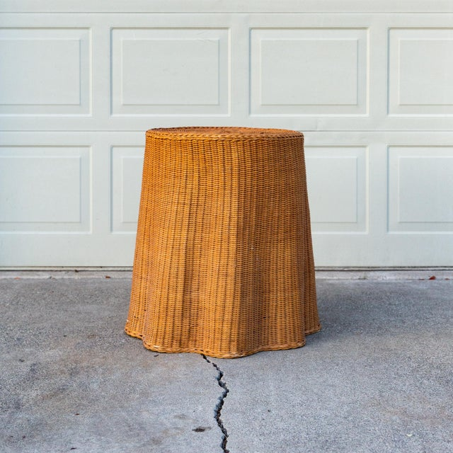 Boho Chic 1970s Boho Chic Trompe l'Oeil Rattan Draped Wicker Ghost Entryway Table For Sale - Image 3 of 9