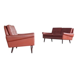 Pair of 1960s Loveseats or Sofas in Reddish Brown Leather and Teak by Sven Skipper