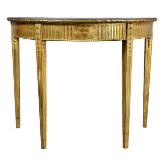 George III Giltwood Demilune Console Table For Sale