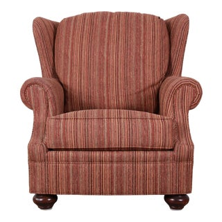 Stickley Orange Striped Upholstered Wingback Lounge Chair For Sale