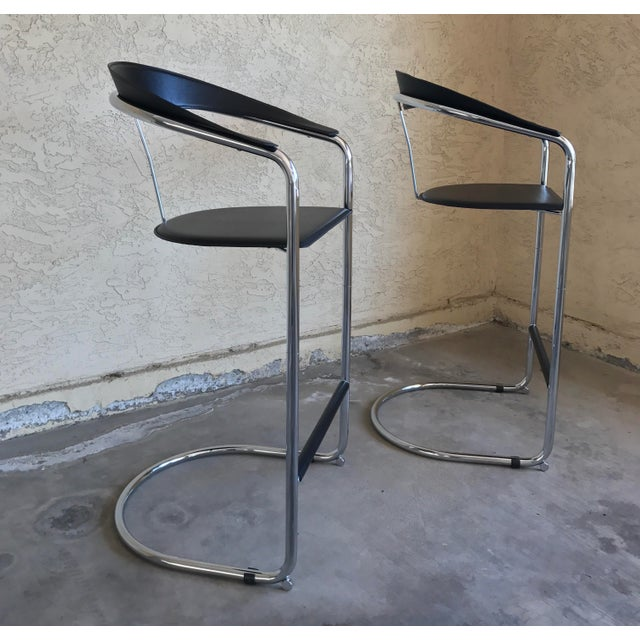Modern Bar Stools In The Style of Anton Lorenz for Thonet- A Pair - Image 5 of 11