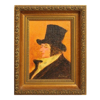 """Late 20th Century """"Man With Top Hat"""" Abstract Portrait Oil Painting of Francisco Goya by Gustav Likan, Framed For Sale"""