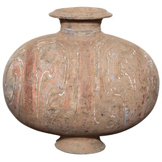 206 Bc-200 Ad Han Dynasty Antique Terracotta Silk Cocoon Jar With Original Paint For Sale