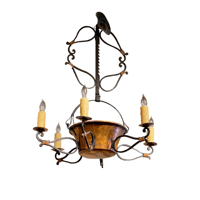 Metal 19th Century French Iron and Copper Pot Fixture For Sale - Image 7 of 7