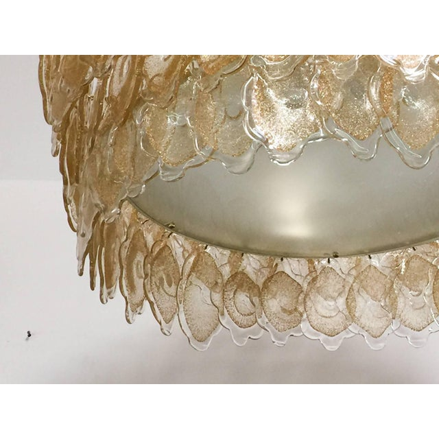 Italian Gold Cloud Chandelier by Mazzega For Sale - Image 3 of 7