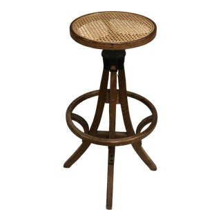 Antique Industrial Bentwood Adjustable Height Oak Cane Seat Swivel Stool For Sale