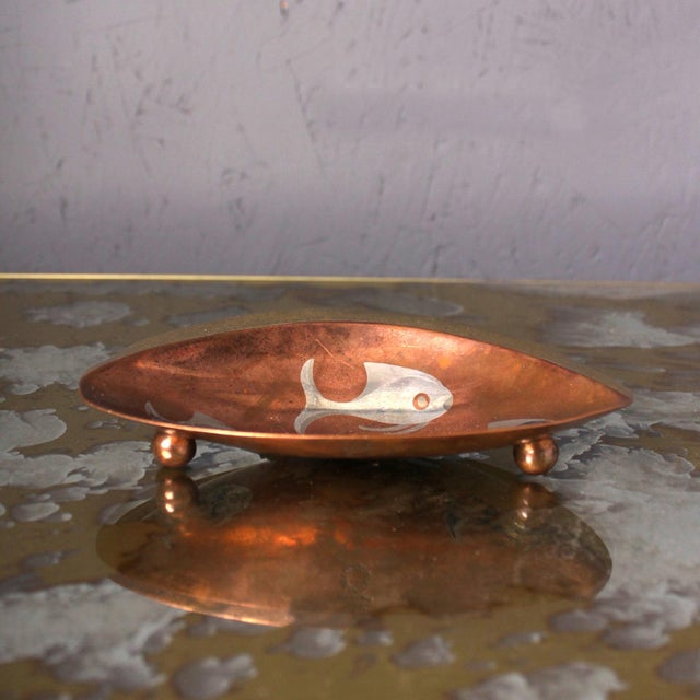 1950s Los Castillo Brass Copper and Sterling Silver Catchall, Midcentury For Sale In San Diego - Image 6 of 8