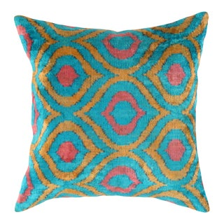 Turkish Hand Woven Silk Velvet Ikat Pillow #Ti295 For Sale