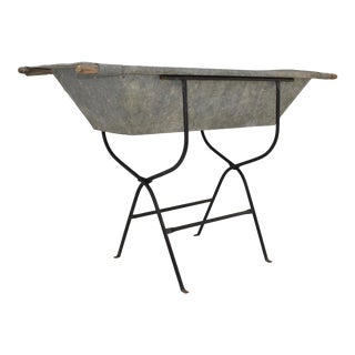 Vintage Zinc Trough on Wrought Iron Stand For Sale