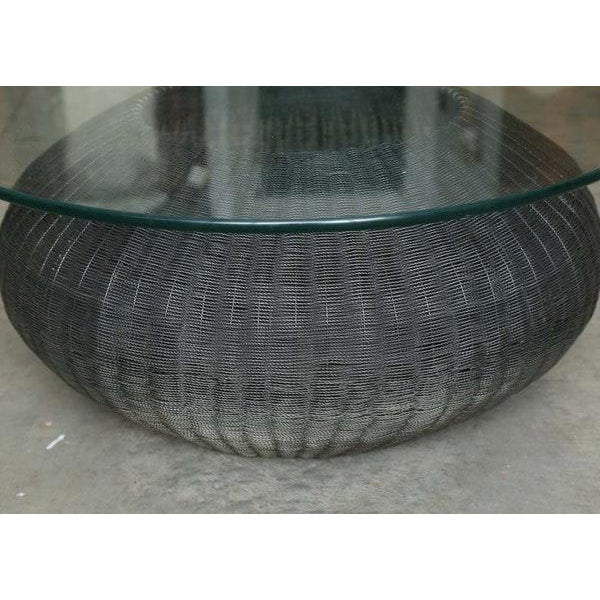Mid-Century Modern Style Wire Weave Glass Table For Sale In Philadelphia - Image 6 of 8