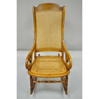 19th Century Antique Eastlake Victorian Cane & Maple Wood Primitive Rocker Rocking Chair Preview