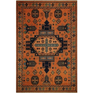 Southwestern Kafkaz Peshawar Cheryle Rust/Drk. Blue Wool Rug - 9'8 X 13'5 For Sale