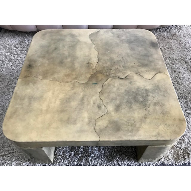 Karl Springer Style Lacquered Goatskin Coffee Table - Image 7 of 8