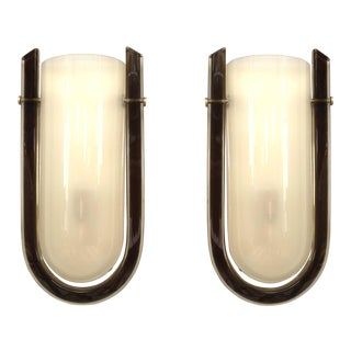 Vintage Italian Murano Glass Wall Sconces - a Pair
