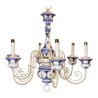 Vintage Delft Blue & White 6 Light Chandelier For Sale
