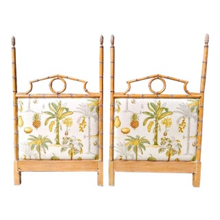 A Pair Custom Made Twin Wood Faux Bamboo Tropical Palm Beach Regency Lexinghton Headboards For Sale