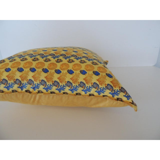 Mid-Century Modern Gianni Versace Authentic Seashells and Coral Printed Decorative Pillow For Sale - Image 3 of 8
