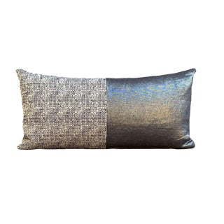 Blue Tweed and Metallic Linen Pillow For Sale