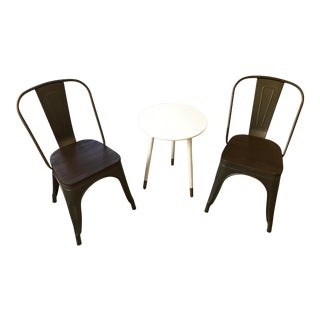 Contemporary Modern Bronze Cafe Chairs - a Pair For Sale