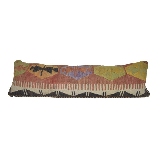"""12"""" X 40"""" Bohemian Bedding Wool Kilim Pillow Cover For Sale"""