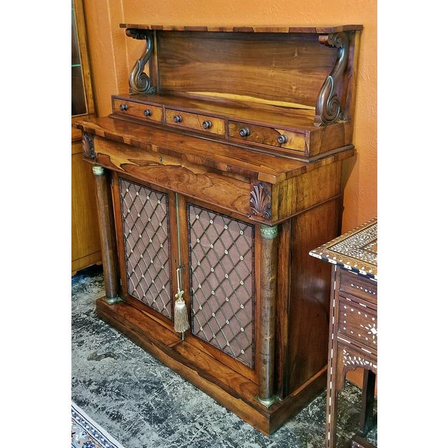Red 18c British Regency Bureau Secretaire Chiffonier in the Manner of Gillows For Sale - Image 8 of 13