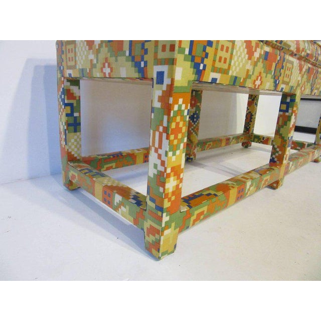 Contemporary Oil Cloth Upholstered Bench For Sale - Image 3 of 7