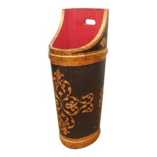 Vintage Italian Black & Gold Gilt Wood Florentine Umbrella Stand For Sale