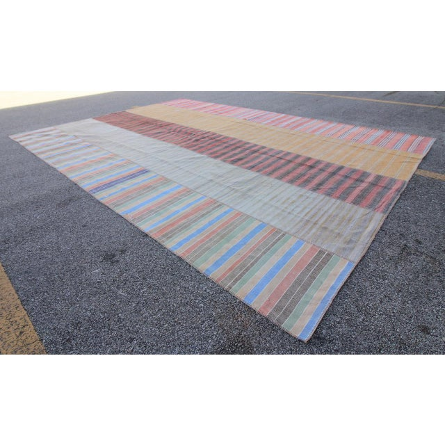 Contemporary Vintage Turkish Kilim Patchwork Oushak Rug- 9′4″ × 13′9″ For Sale - Image 3 of 6