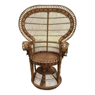 Wicker Peacock Chair Emmanuel Woven Wicker Fan Back Chair For Sale