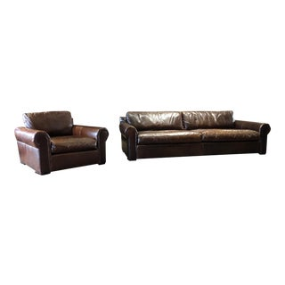Restoration Hardware Lancaster Leather Sofa & Chair - A Pair