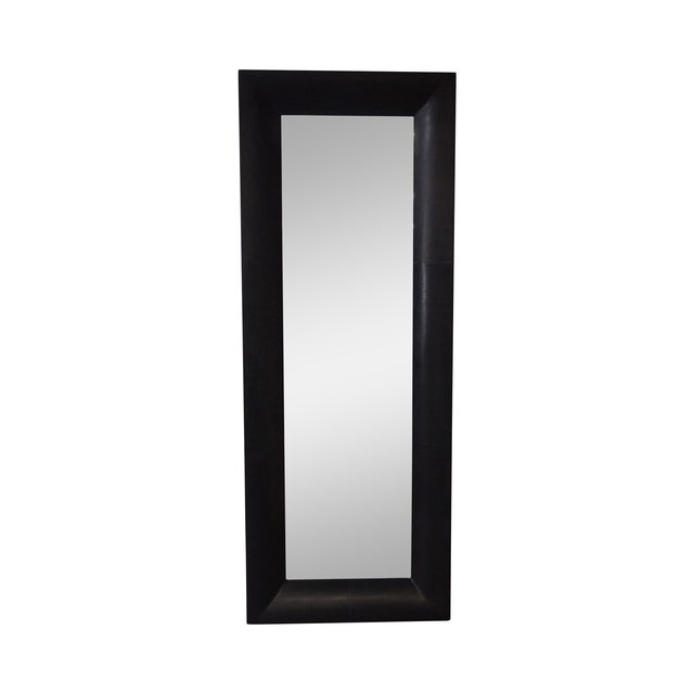 Rectangular Beveled Mirror with Faux Leather Frame For Sale