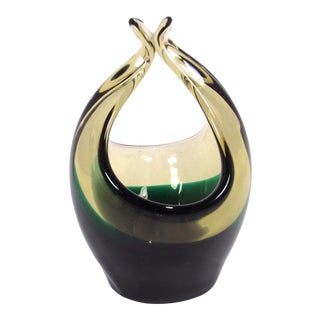 Vintage 1950s Cenedese Hand Blown Amber and Green Art Glass Basket For Sale