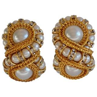 "Francoise Montague Glass Pearl ""Huit"" Clip Earrings For Sale"