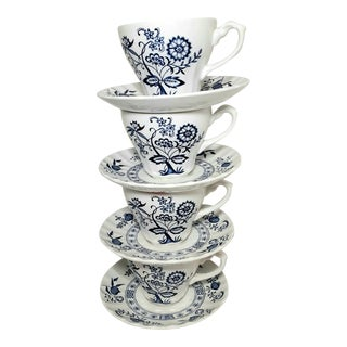 Blue & White Teacups and Saucers - Set of 4 For Sale