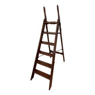 Antique English Folding Wooden Library Ladder For Sale