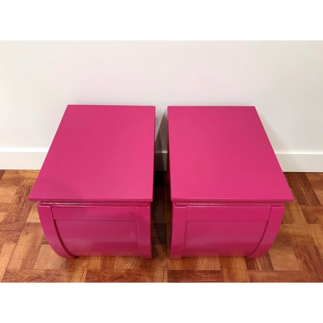 Gordon Furniture Co. Ming Style Pink Chow Leg Side Tables/Low Stools - a Pair For Sale - Image 4 of 8