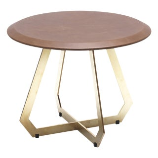 The Fetish Table W/ Brown Leather - Brass / Small For Sale