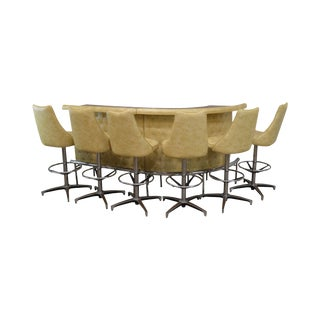 Chromcraft Mid Century Modern Curved Tufted Yellow Vinyl Bar Set With 6 Swivel Stools For Sale