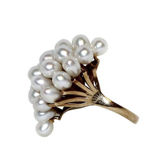 "14K gold cocktail ring set with multiple oval cultured pearls in a cluster design measuring 1.25"" long by .75"" wide ...."