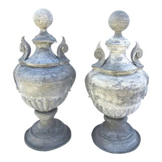 Zinc American Architectural Urn Finials - a Pair For Sale
