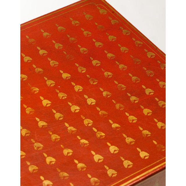 Contemporary Lawrence & Scott Mandarin Red Bells Leather Box For Sale - Image 3 of 7