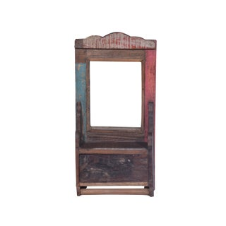 Rustic Wooden Mirror Frame With Storage Drawer