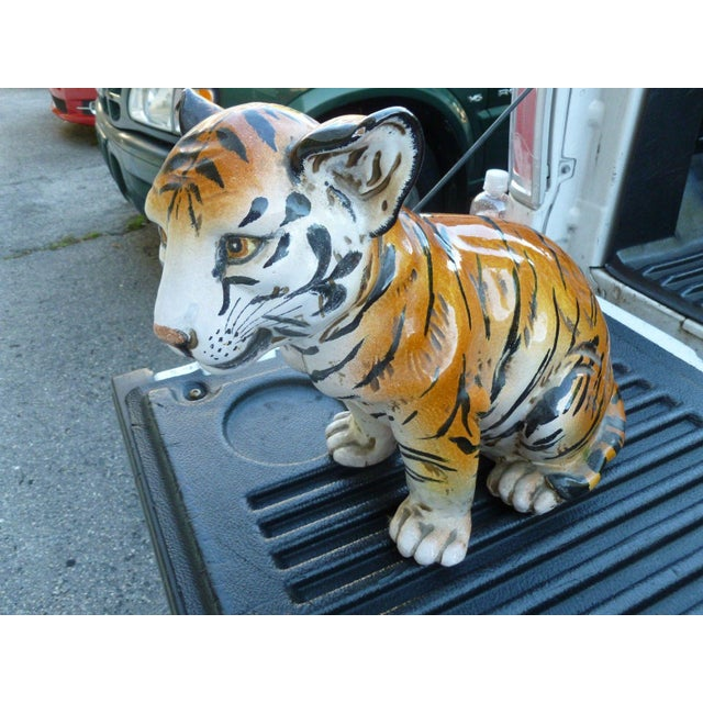 Ceramic Pair of Large Mid-Century Italian Glazed Terracotta Tigers, Mother and Her Cub For Sale - Image 7 of 13